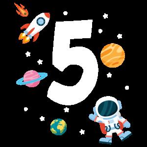 5. Geburtstag Astronaut Jungen 5 Jahre Weltraum