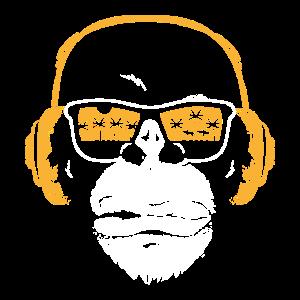 Monkey mit DJ Kopfhörer und Sonnenbrille Affen