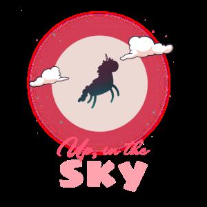 Fliegendes Einhorn im Himmel Mond
