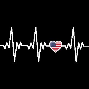Amerika amerikanischer Herzschlag EKG Geschenk