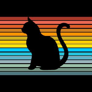 Silhouette einer Katze Schatten bunt Geschenk