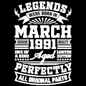 30. Geburtstag Geschenk März 1991 30 Jahre