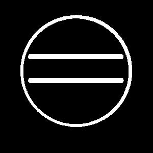 Weißer Kreis mit 2 Linien Strichen Deko