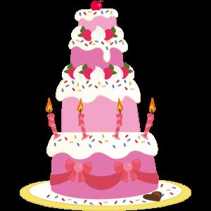 Rosa Geburtstagskuchen Vectoring-Zeichnung