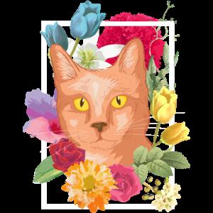 Vintage Katze Blumen