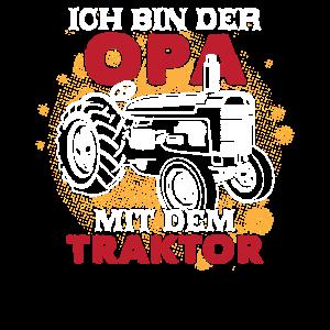 Opa mit Traktor Trecker Opa Großvater Lustiges Opa
