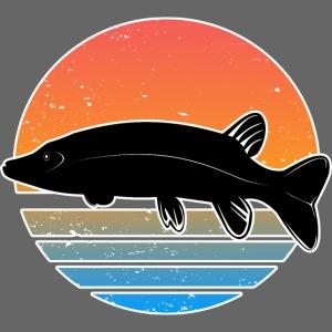 Retro Hecht Angeln Fisch Wurm Raubfisch Shirt