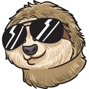 Cool sloth with sunglasses