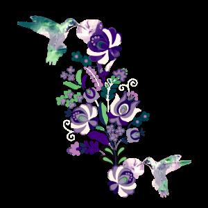 kolibri, aquarell,vogel, blumen, illustration,