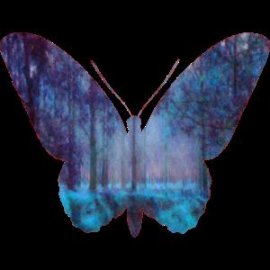 Schmetterling und Wald in blau