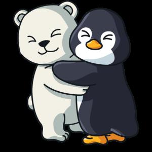 Eisbär mit Pinguin Liebe süßes niedliche Tiere