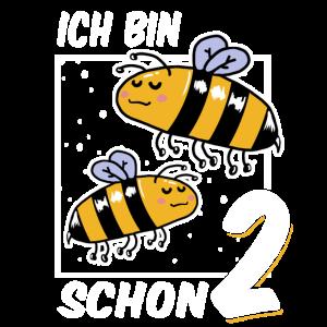 Ich bin schon 2 Biene Geburtstag Kindergeburtstag