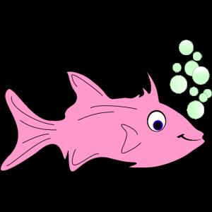 Witziger Fisch mit Luftblasen im Clip Art Stil