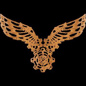 Steampunk Gold Flügel Zahnrad Vintage