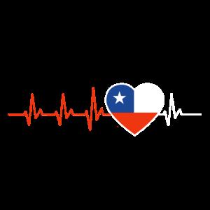HERZSCHLAG CHILE SÜDAMERIKA EKG FLAGGE GESCHENK