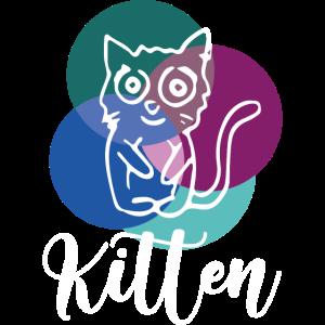 kitten, katze, illustration, comic, kreis