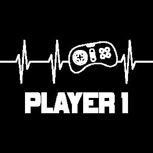 Gaming Partnerlook Player 1 Herzschlag