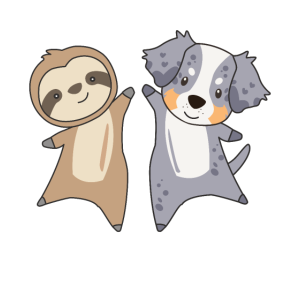 Faultier Australian Sheperd süße Tiere für Kinder