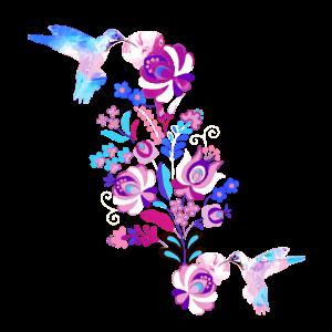 kolibri, aquarell,pastell, blumen, illustration