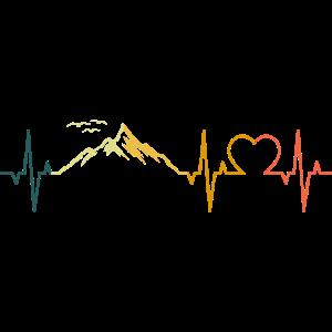 Berge Herzschlag Berg EKG Herz Retro