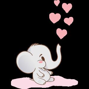 Baby Elefant Herzen Rosa -Motiv für Mädchen Pink