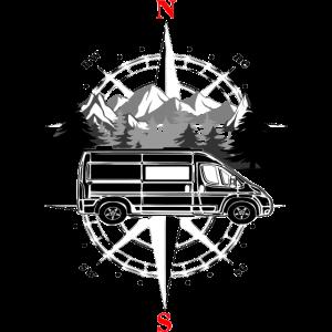 Wohnmobil Reiseträume vor Landschaft mit Kompass