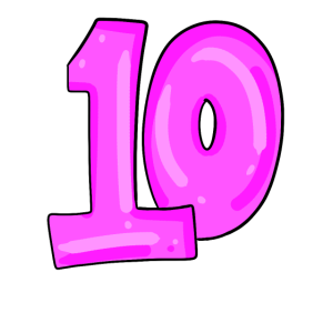 Ziffer 10 in pink