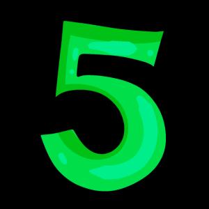 Ziffer 5 in grün