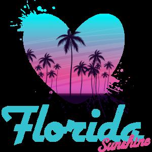 Florida Heart Sunset Vintage