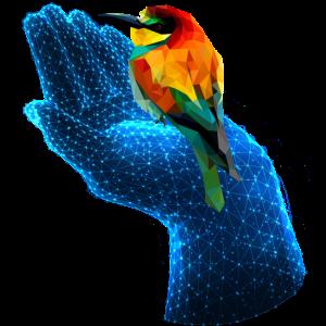 Polygonal Tier farbenfroh geometrie hand vogel