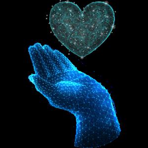 Polygonal Tier farbenfroh geometrie hand Herz