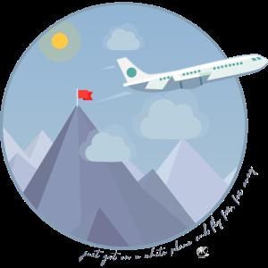 Kreis mit Bergen und davonfliegenden Flugzeug