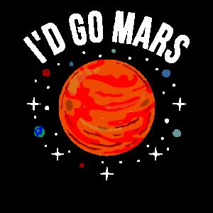 Ich Würde Mars Lustig NASA Astronaut Raumfahrt
