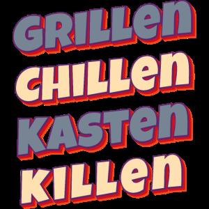 Chillen Grillen Kasten Killen BBQ Grillmeister