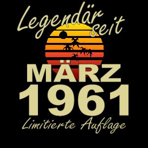 Legendär März 1961 Jahr Geburtstag Geschenk
