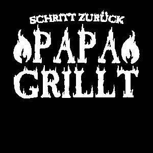 Schritt zurück Papa Grillt BBQ Grillen Vater
