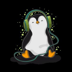 Pinguin hört Musik