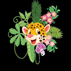 Kinder Gepard Blumen Dschungel Geschenk Motiv