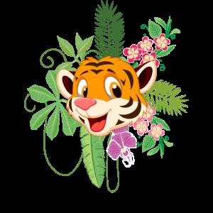 Kinder Tigerkopf Blumen Dschungel Geschenk Motiv