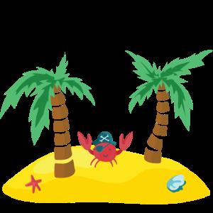 einsame Insel Pirat Palmen Seestern