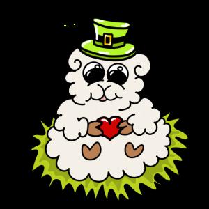 süßes Schaf mit Herz und Hut