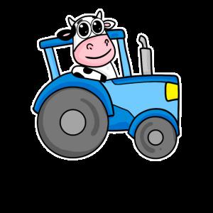 Kuh Traktor Illustration