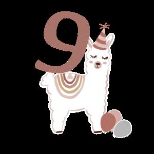 9. Geburtstag Alpaka Alpaca Lama Kind Regenbogen