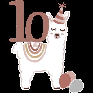10. Geburtstag Alpaka Alpaca Lama Kind Regenbogen