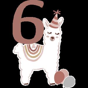 6. Geburtstag Alpaka Alpaca Lama Kind Regenbogen