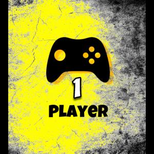 PLAYER 1 - Gamepad mit Text in Gelb im Grunge Look