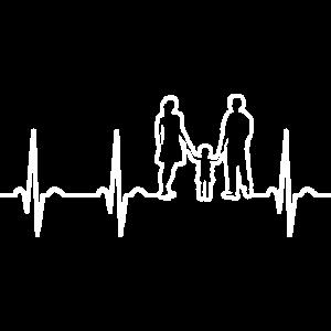 Herzschlag EKG Familie Mutter Vater Sohn Eltern