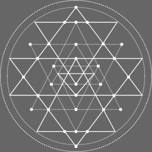 Valkoinen geometrinen Shri Yantra -kuvio