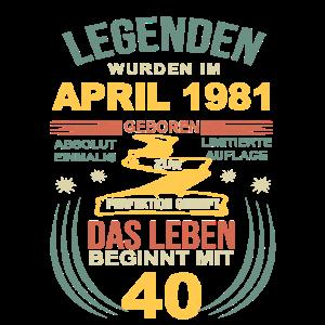 40 Geburtstag Herren Damen April 1981 40ter