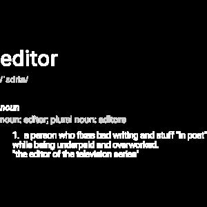 Editor Schriftzug ironisch